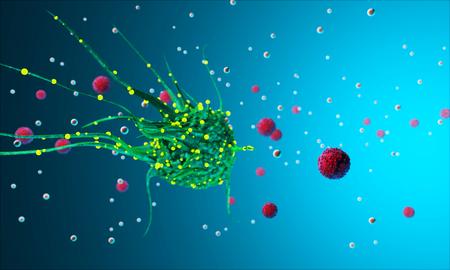 The study of biological virus under an electron microscope Virus cells under a microscope. 3D render. Bacteria. Disease. 3D illustration Rendering
