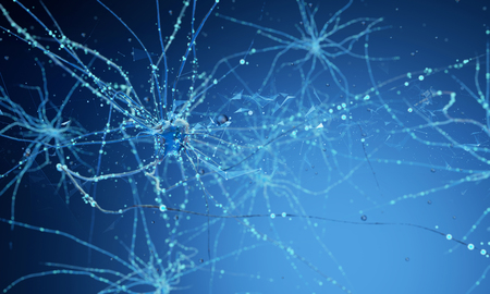 Conceptual illustration of neuron cells with glowing link knots in abstract dark space, high resolution 3D illustration 3d render 3d illustration