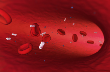 Erythrocyte under a microscope. 3D render. Bacteria. Disease. 3D illustration Rendering The study of biological virus under an electron microscope cover for the magazine Stock Photo