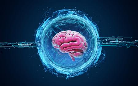Futuristische illustratie van hologram van de hersenen. Een hersenscan. Analyse van de structuur van de hersenen 3d render illustratie