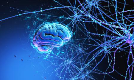 3D-Modell des menschlichen Gehirns auf dunklem Hintergrund, umgeben von neuronalen Netzen. 3d rendern. 3D-Illustration Synapsen und Neuronen