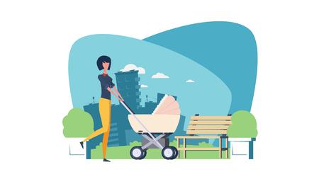 Mère marche avec une poussette dans le parc. Paysage avec vue sur la ville. Une promenade dans le parc. Vecteur d'illustration. Une jeune fille avec un bébé. Un banc et un parterre de fleurs.