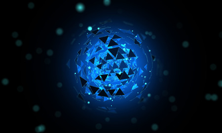 Abstract mesh on a dark background. Triangles and particles. Luminous sphere made of triangles. The depth of field. Luminous particles
