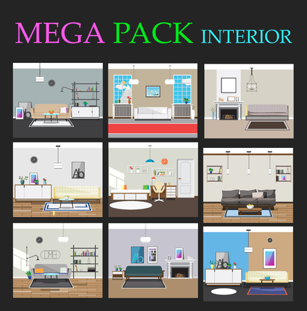 Great collection of interiors. Interior design. Interiors for animation. Living room, hallway, bedroom and hall. Vector illustration.