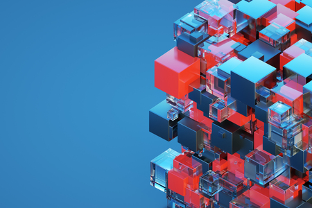 Saver for presentations. Technological abstraction of a three dimensional cube and holograms. Blue background with cube. 3D illustration 3D visualization 写真素材