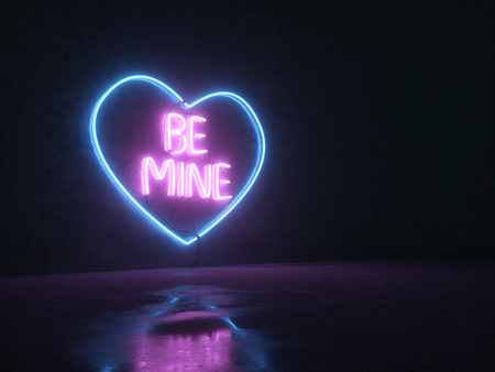 Neon lights on a concrete wall background. Neon heart with an inscription. Be mine. With love. 3D render-illustration. Street neon lights Zdjęcie Seryjne