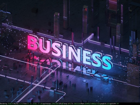 Isometric view of the modern city. Business centre. Inscription business inside the city. Neon lighting. 3D illustration of a night city. Big letters are blue and pink.