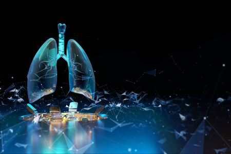 3d render of hologram of the lungs on a dark background. 3D render illustration. Lung scan. Analysis of data on the disease. Examination of the respiratory system. Medical experiences. Tuberculosis and lung cancer.