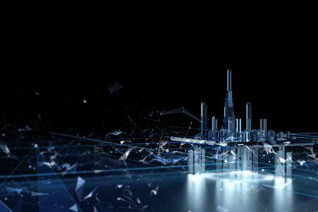 Futuristic city on a dark background. Future city neon light. 3d model of the hologram of the city. Data streams Blockchain Фото со стока