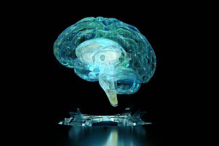 3d render brain technology hologram. Background black with hologram brain. 3d illustration. Focus blur. Reklamní fotografie