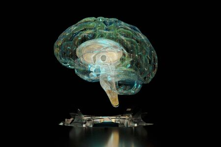 3d render brain technology hologram. Background black with hologram brain. 3d illustration. Focus blur. Stok Fotoğraf