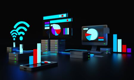 Computer on a glass surface. Infographics on a business theme. Background for presentation. Finance and exchange. Server data center. Focus image. Blurred background. 3D rendering 3D illustraration. 版權商用圖片