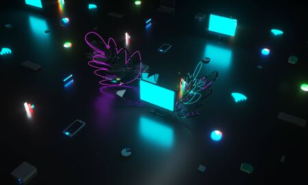 Isometric view. Infographics and business. Computer and analytics. Statistics and planning. Idea for a business challenge. Neon light. 3D rendering. 3D illustration.