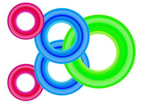 Abstract Image with crossed circles in different red, blue and green colour variations Stock Photo - 7113025