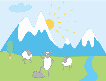 grazing: Lamb Greetings on Snowy Mountain background - abstract illustration