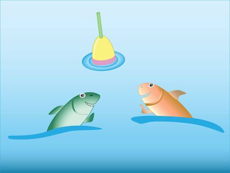 keen: Two keen smiling fishes look on fisherman float - abstract illustration