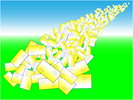 intercommunication: Avalanche of Symbolic Letters - abstract illustration