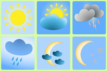 day forecast: Day and Night weather variation - abstract icons Illustration