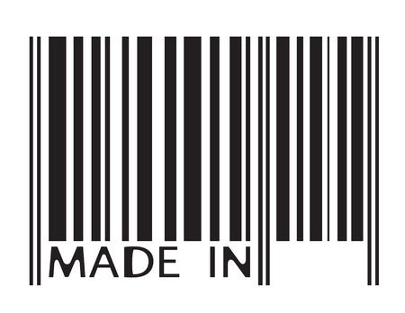 Barcode image with MADE IN letters - abstract illustration Illustration