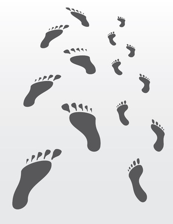 disappear: Man and Women Footprints disappear in the distance - vector file Illustration