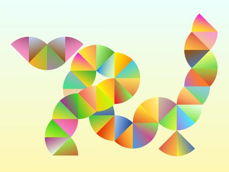 Circle Fragments Abstract Rainbow Cat - vector illustration Stock Vector - 7652345