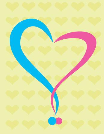 hesitation: Heart shape from two question mark overlapped - metaphor illustration