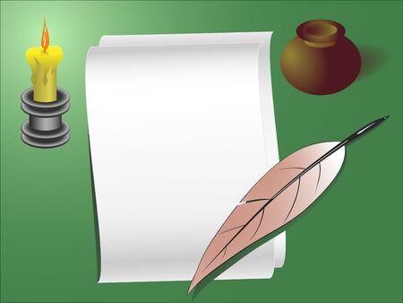 sconce: Plantilla antigua de estilo de la carta o nota con l�piz de vela y plumas
