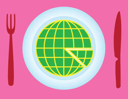 Globe as pizza slices with knife and fork - illustration
