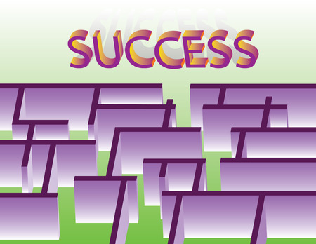 abstract labyrinth with exit to success - vector illustration Stock Vector - 8214087