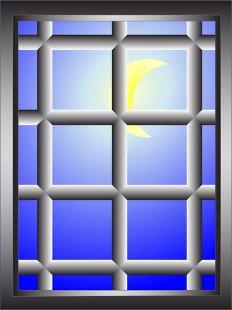 abstract window with bars and shining moon - vector image Stock Vector - 8214085