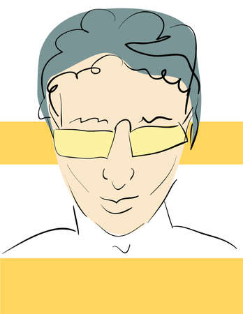 abstract portrait: Drawn abstract portrait of confident young man in sunglasses