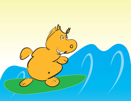 funny smiling cartoon hippo surfing  Vector