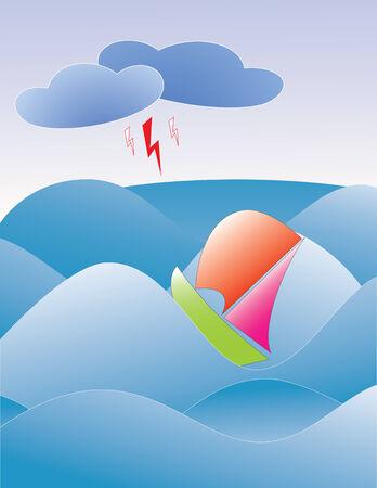 espumante: el barco flotante en las olas gigantes de espumosos del mar