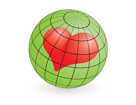 love and kindness conceptual illustration of the world globe and heart