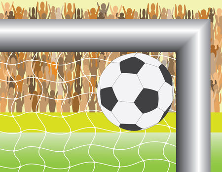 soccer fans: Goal. A ball targeting in football (soccer) goal - vector illustration Illustration