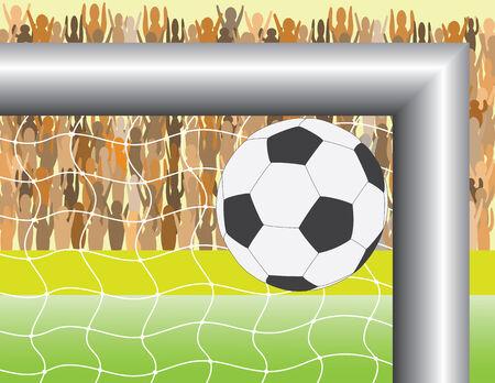 playfield: Goal. A ball targeting in football (soccer) goal - vector illustration Illustration
