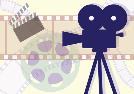 Movie Camera, clapboard and films collage Illustration