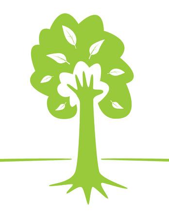 手と緑豊かな環境の概念設計として木。