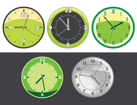 Set of clocks with different day and night time Stock Vector - 8747420
