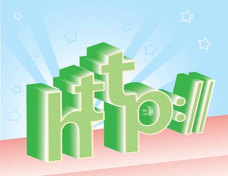 http: 3D http Buchstaben auf Star gl�nzen Hintergrund.   Briefe und Sterne sind auf separaten Ebenen und k�nnen bei Bedarf leicht entfernt werden.