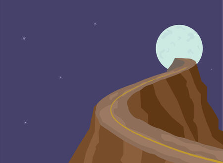 Narrow dangerous mountain road on full moon background. Abstract illustration.  Vector