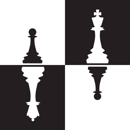 Chessmen - Pawns reflected as Queen and King.