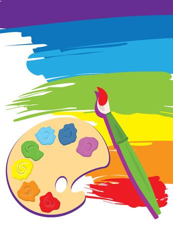 Paintbrush, palette on rainbow color painted canvas.