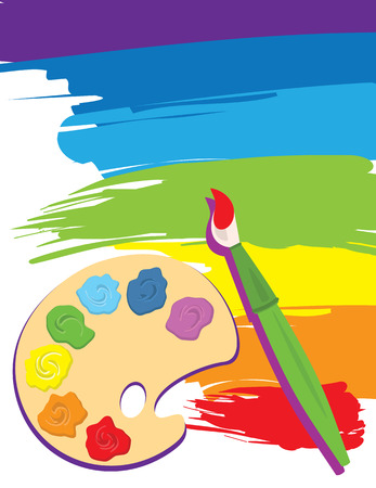 Paintbrush, palette on rainbow color painted canvas.  Vector