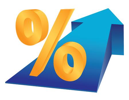 % 기호 및 금융 번영 개념으로 성장 하 고있는 화살표.