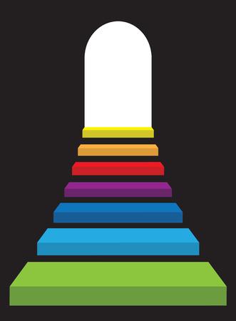 the end of a rainbow: Levantamiento de escalera de color arco iris abstraer puerta de luz brillante.