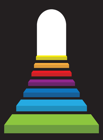 Uprising rainbow color stairway to abstract bright light door. Vector