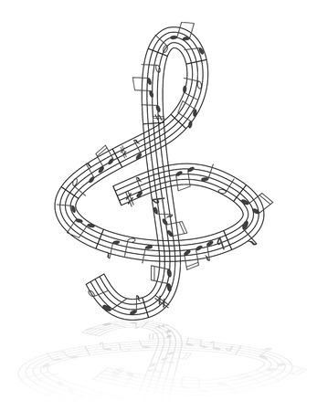 half full: Treble clef made from notes - abstract musical illustration