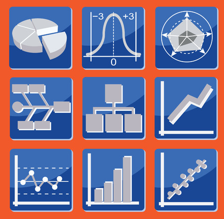 set of icons with different types of charts and graphs