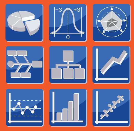 set di icone con diversi tipi di diagrammi e grafici